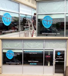 These window decals done by Speedpro Imaging QEW & 427 for Stockyards Dental. Cut lettering for the text; frosted vinyl with the rings cut out that they applied wet to avoid bubbles and for easier application. Great work!