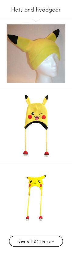 """""""Hats and headgear"""" by dreadreas22 ❤ liked on Polyvore featuring costumes, pokemon costumes, ski cap, adult pikachu costume, pikachu halloween costume, pokemon halloween costume, accessories, hats, pokemon and beanie"""