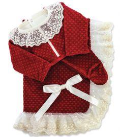 Saída Maternidade de Luxo Renda & Pérolas Vermelha - Tam RN SML00860362