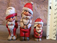 Original Signed Hand Carved Wood Santa by Jim Johnson (3 included) Ornament or Standing