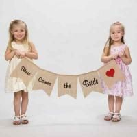 "Five-piece pennant banner with wording ""Here Comes the Bride"". Made of 100% natural jute fabric. Each pennant measures 10"" x 8"". Perfect for an #Ecofriendlywedding #greenwedding or #RusticWedding!"