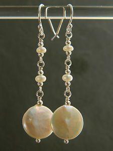 Piece-d-039-eau-douce-blanc-ivoire-amp-semences-perles-amp-argent-sterling-925-boucles-d-039