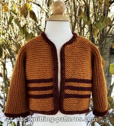 Easy button-down baby cardigan knitting pattern. Features: I-Cord, Seamed, Stripes, Worked as One-piece. Baby Booties Knitting Pattern, Knitted Baby Cardigan, Cardigan Pattern, Baby Knitting Patterns, Baby Patterns, Knitted Hats, Knitting For Charity, How To Start Knitting, Knitting For Kids
