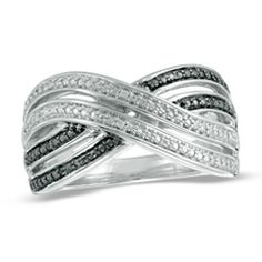 Enhanced Black and White Diamond Accent Double Ribbon Crossover Ring in Sterling Silver  - Peoples Jewellers