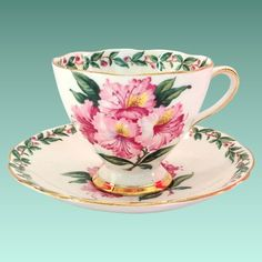 Gladstone Bone China Laurel Time Footed Teacup and Saucer Longton England