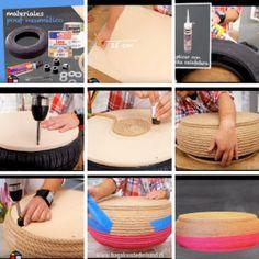 Cómo hacer un Puff con neumáticos usados.