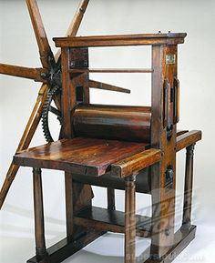 Geared roller copper plate printing press, 18th century.