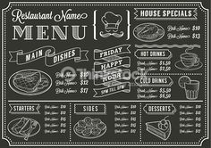 Vector Art : Chalkboard Restaurant Menu Template