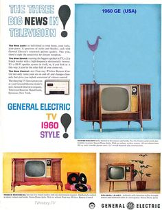 television ad - We had one similar to the bottom left. Black and white, rabbit ears, and knobs you had to turn to make changes. Not the couch potato type at all! Vintage Tv Ads, Vintage Advertisements, Big Speakers, Tv Adverts, Funny Commercials, Commercial Ads, Smart Home Technology, Framed Tv, General Electric