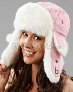 cf05b86577137c Pink Trapper Hat with White Rabbit Fur Fur Hat World, Rabbit Fur Hat, Fur