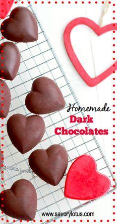 Healthy Homemade Dark Chocolates -  www.savorylotus.com #chocolate #valentine's