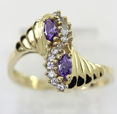 Amethyst wave ring 14K yellow gold marquise round brilliant CZs .50CT size 8 1/4
