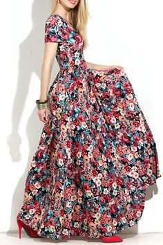 Short Sleeve Full Floral Maxi Dress