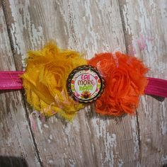 Eat More Ham Thanksgiving headband. Fits 3-12 months. Colors: Yellow, Hot Pink, Orange, Lime www.facebook.com/prettynpynkbowtique