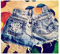Monogrammed jean shorts!