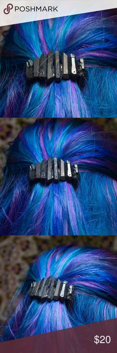 """Dark Grey Rainbow Titanium Quartz Small Barrette Handmade by me  8 high quality gorgeous dark grey titanium Quartz crystals with splashes of muted rainbow throughout on a 2.2"""" French spring closure barrette.  Made to be as sturdy as can be, this barrette is perfect for festivals, Halloween costumes and everyday if you wanna add some Crystal magic to your style ✨not UNIF just tagged for the viewing pleasure of those with similar taste ✨ UNIF Accessories Hair Accessories"""