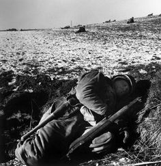 American soldiers in their foxhole South of Bastogne December 23 1944