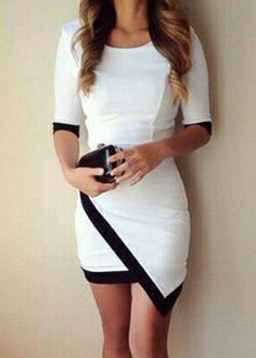 Fashion Design Half Sleeve Round Neck Mini Dress