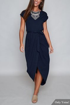 Navy Self-tie Design Irregular Hem Dress