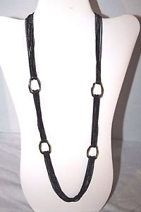 Women's Necklace Silver Tone Metal Black Chain Link