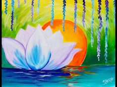 How to paint a Zen Lotus flower step by step for Beginners Acrylic Tutorial