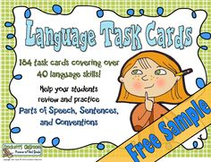 Language Task Cards, Free Sample---Crockett's Classroom