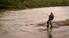 Fishing for large Atlantic Salmon on the river Lakselva in Finnmark