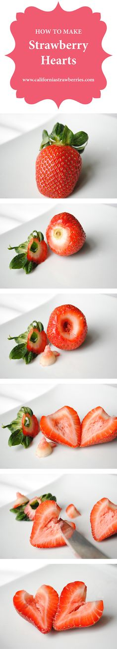 How to make strawberry hearts from fresh strawberries. Great for Valentine's Day pancakes, or dipping in chocolate!