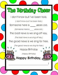 Birthday cheer: We chant this for every birthday! I love celebrating each of my children's births! I'm glad each of my 16 students are in my class this year.