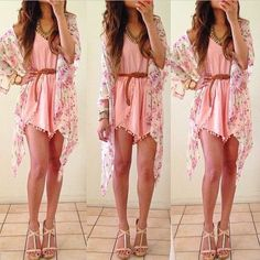 Floral Crop Sleeves Kimono - Fashion: Gorgeous Summer outfits Teen fashion Cute Dress! Clothes Casual Outift for • teens • movies • girls • women •. summer • fall • spring • winter • outfit ideas • dates • school • parties mint cute sexy ethnic skirt Apricot @LookBookStore
