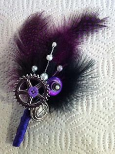 steampunk boutonniere buttonhole goth wedding purple black