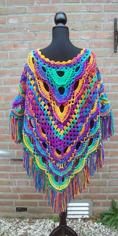 Crochet Lace Edging, Crochet Poncho Patterns, Form Crochet, Crochet Jacket, Crochet Scarves, Crochet Shawl, Crochet Clothes, Crochet Stitches, Crochet Hooks