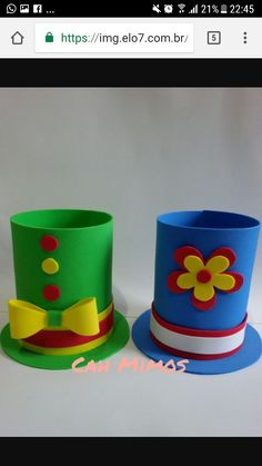 Patati patata Tin Can Crafts, Easy Diy Crafts, Handmade Crafts, Arts And Crafts, Paper Crafts, St Patricks Day Crafts For Kids, St Patrick's Day Crafts, Clown Costume Diy, Carnival Themes