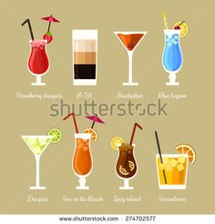 Vector illustration of eight popular alcoholic cocktails: Strawberry daiquiri, B-52, Manhattan, Blue lagoon, Daiquiri, Sex on the beach, Long island, Screwdriver in flat style - stock vector