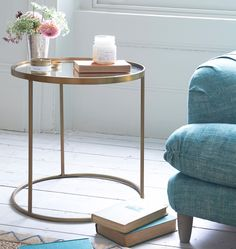 Loaf's mirror topped and brass finished Eclipse side table #ArtDeco
