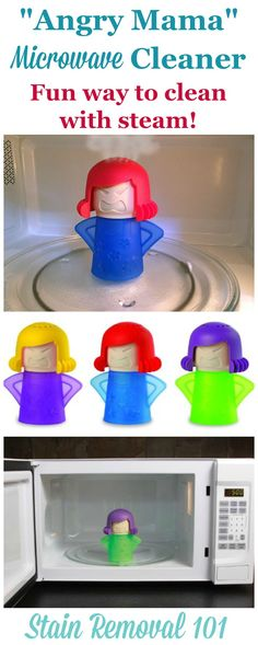 A very simple way to clean your microwave is to use the power of steam, combined with either vinegar or lemon juice, to loosen splatters and spills and make them easy to wipe away. This cute little 'Angry Mama' microwave cleaner makes it not only simple, but fun, as she lets steam out of her head.