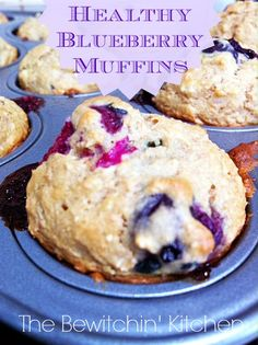 Healthy Blueberry Muffins recipe. This recipe for blueberry muffins is so easy, and adds a little extra fiber in your diet. Great for kids and makes an excellent toddler snack! | The Bewitchin' Kitchen