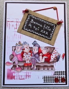 Girlfriends Art impressions Comfy on Couch set. Friendship card.