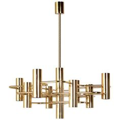 Modernist Brass Chandelier by Boulanger 1