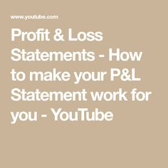 How Do I Make A Profit And Loss Statement Custom Financial #loss  Profit & Loss  Pinterest