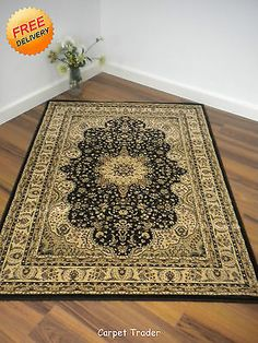 Kendra Traditional Rug 217 K Black Cream in 3 Large Sizes