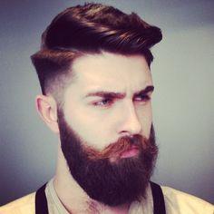 Chris John Millington - full thick dark beard coloration beards bearded man men mens' style retro dapper hairstyles barber hair cut handsome #beardsforever