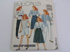 Vintage McCalls Pattern Non Stop Wardrobe 3549 Miss Shirt Top Pants Shorts Skirt