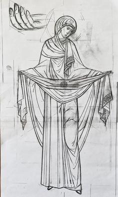 Новости Pencil Drawing Tutorials, Pencil Drawings, Art Drawings, Virgin Mary Art, Jesus E Maria, Byzantine Icons, Black White Art, Orthodox Icons, Russian Art