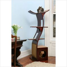The Refined Feline The Lotus Cat Stand in Espresso - LOT-ES
