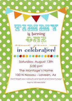 1st birthday party invitations with banner and by katiedidesigns, $13.00