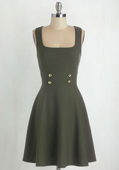 Delightfully Charming Dress in Olive, #ModCloth