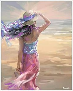 Painting of lady with hat at the beach looking out over the horizon. Reminds me of the Lord's peace, blowing gently, prophetic art. Collage Kunst, Painting People, Fantasy Kunst, Beach Art, Portrait Art, Beautiful Paintings, Female Art, Art Pictures, Art Girl