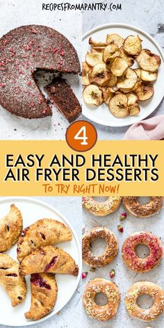 This collection of Air Fryer Dessert Recipes is what you've been waiting for! From gluten free chocolate cake and crave-worthy donuts t. Quick Apple Dessert, Apple Dessert Recipes, No Cook Desserts, Donut Recipes, Gourmet Recipes, Air Fryer Cake Recipes, Air Fryer Dinner Recipes, Air Fryer Recipes Easy, Air Fryer Recipes Gluten Free