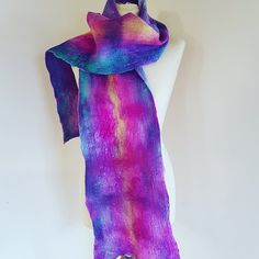 The Accidental Waterfall Scarf. Pink Yellow, Purple, Fibre Art, Waterfall, Silk, Color, Fashion, Moda, Fashion Styles